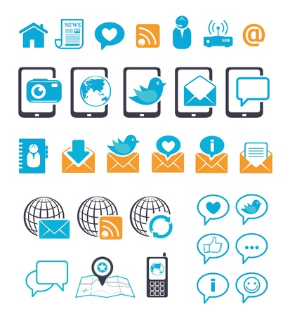 Communication icons for mobile mail chat Stock Vector - 14953475