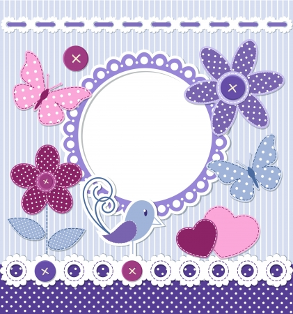 Retro style frame and design elements for scrapbooking Vector