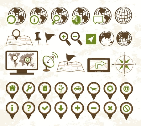 Location icons military style Stock Vector - 14953482