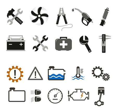 Car mechanic and service tools icons Illustration