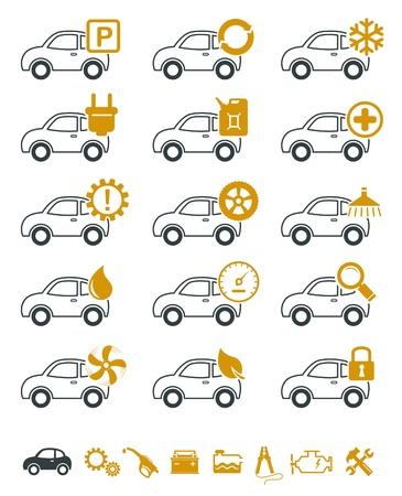 onderhoud auto: Auto reparatie en service iconen