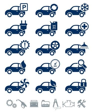 onderhoud auto: Auto service pictogrammen blauwe set