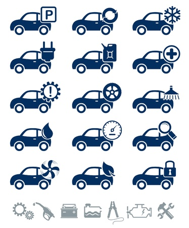 car service: Car service icons blue set