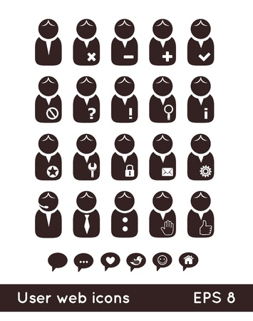 User web icons with speech bubbles Stock Vector - 15486653