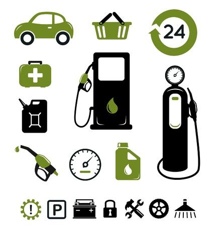 gasolinera: Iconos gasolineras establecer Vectores