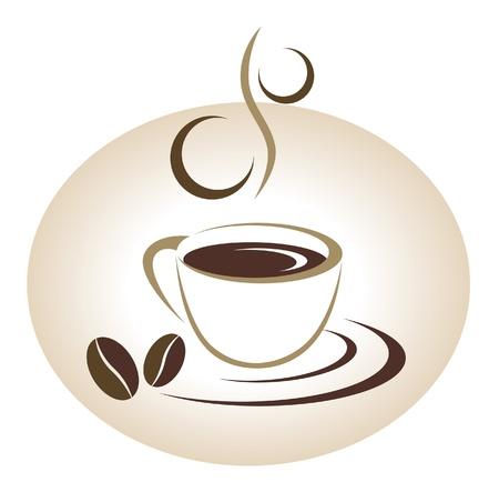 coffee beans: Kopje koffie embleem