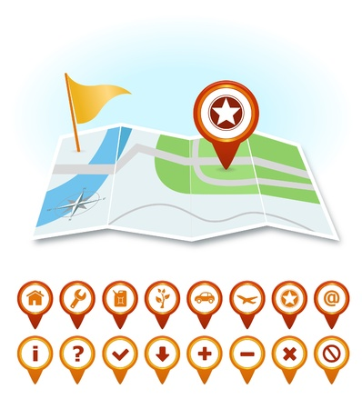 Map with markers and GPS icons Stock Vector - 15495630