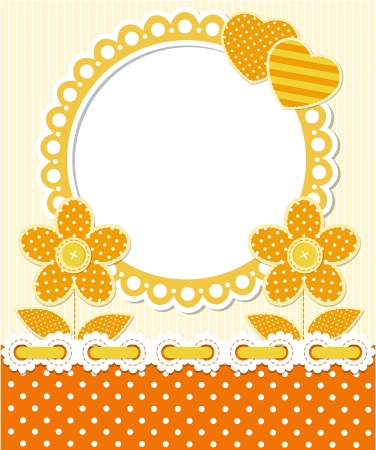 Retro style scrapbook floral frame