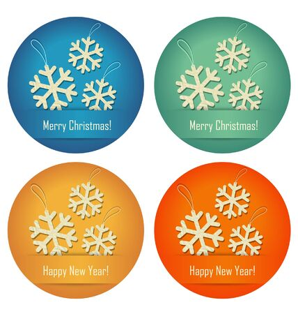 crumpled paper ball: Christmas bubbles with crumpled paper snowflakes