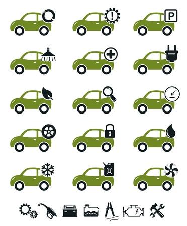 onderhoud auto: Automonteur service en reparatie iconen groene set
