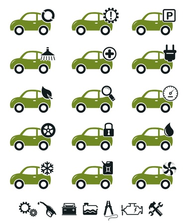fix gear: Car mechanic service and repair icons green set