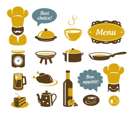chicken dish: Kitchen and restaurant icons set