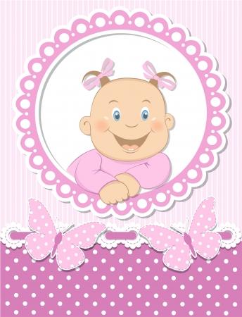 Happy baby girl scrapbook pink frame Stock Vector - 15321483