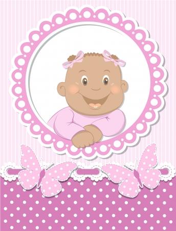 baby arrival: Happy African baby girl scrapbook pink frame