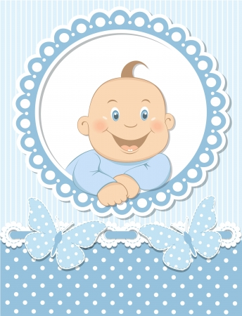 Happy baby boy scrapbook blue frame