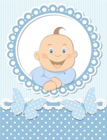 Happy baby boy scrapbook blue frame