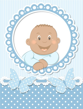 Happy African baby boy scrapbook blue frame Vector
