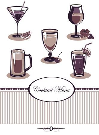 Drinks icons set purple menu Vector