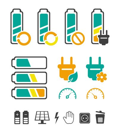 Battery recycling pictograms set Stock Vector - 15442545
