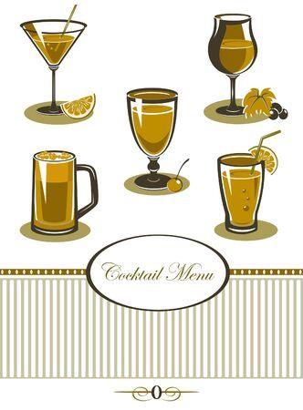 Drinks icons set orange menu Stock Vector - 15536639
