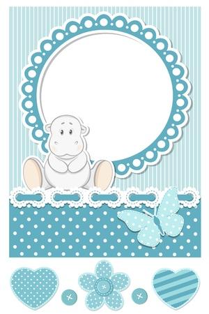 flusspferd: Happy baby hippo blauen scrapbook set Illustration