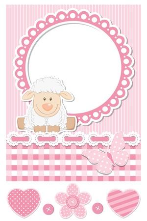 pecora: Happy baby pecora rosa scrapbook set Vettoriali