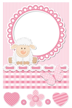 Happy baby sheep pink scrapbook set Stock Vector - 15559951