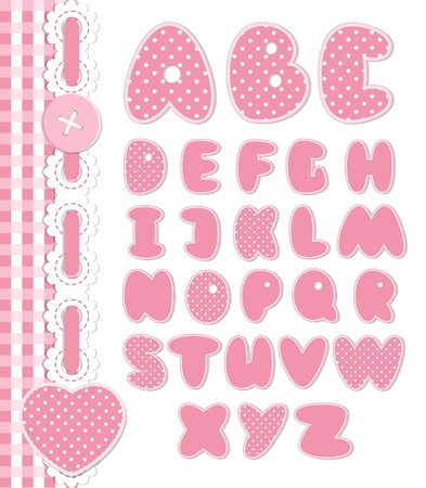 Retro scrapbook font pink color Vector