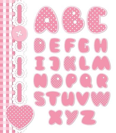 Retro scrapbook font pink color Stock Vector - 15717050