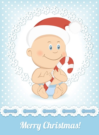 christmas baby: Funny Christmas baby in Santa Claus hat