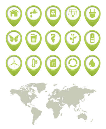 Ecology buttons set and world map Stock Vector - 15993245