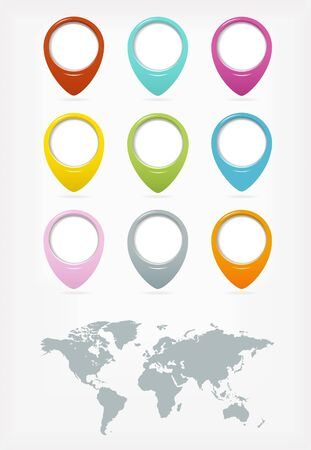 Colorful web buttons set with world map Vector