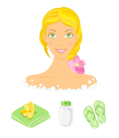 sauna: Sauna girl and beauty care icons Illustration