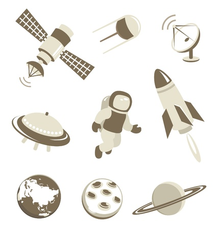 astronaut in space: Space and air transport icons set