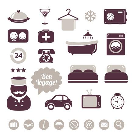 lit: Hotel icons mis en Illustration