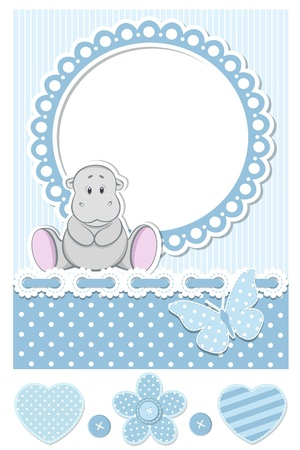baby boy shower: Baby hippo blue scrapbook set