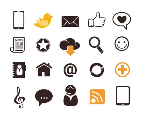 Internet communication icons Stock Vector - 16357049