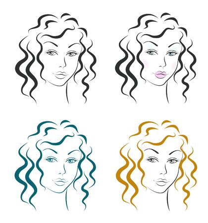 Beautiful woman face design set Stock Vector - 16357051