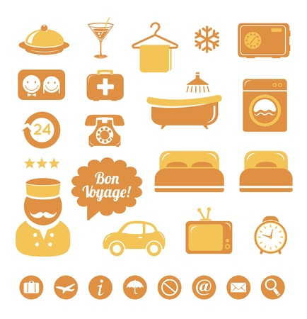 hotel suite: Hotel icons set