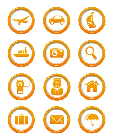 Travel and transportation web buttons set Stock Vector - 16357053