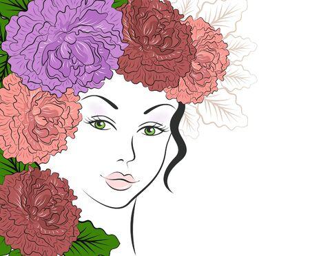 Chica romántica con el pelo floral