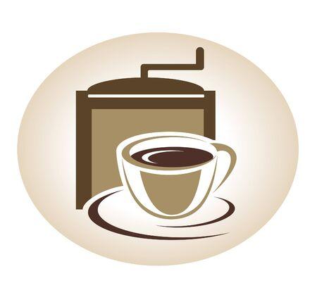 Kaffeemühle und Tasse Emblem Vektorgrafik