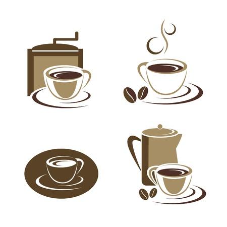 coffe bean: Tazza di caff� insieme Vettoriali