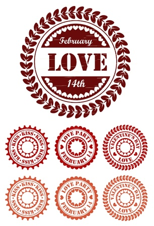 Red vintage stamps for Valentine day Stock Vector - 16787874