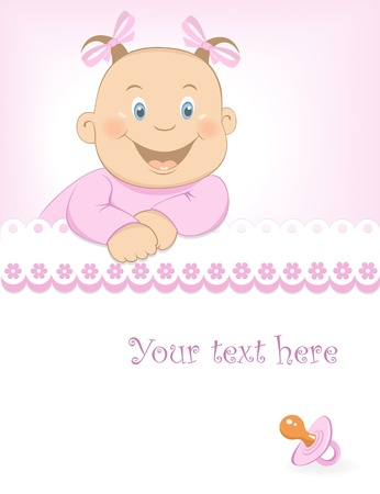 Baby girl arrival announcement Stock Vector - 16853801