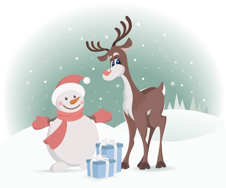Rudolph reindeer with Christmas presents Vector