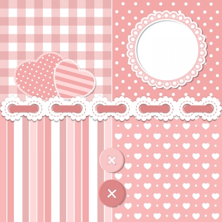 Pink scrapbook set Stock Vector - 16932322