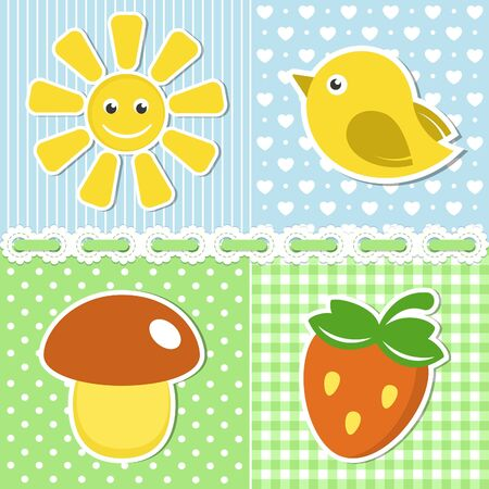 Summer icons of flower, strawberry, sun and bird on textile backgrounds Vector
