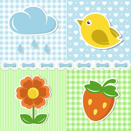 Summer icons of flower, strawberry, cloud and bird on textile backgrounds Vector