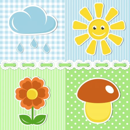 Summer icons of flower, mushroom, sun and cloud on fabric backgrounds